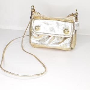 Coach Poppy Metallic Gold Purse Handbag Small